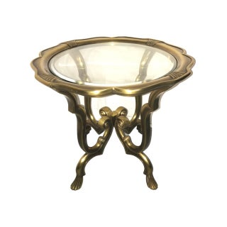 Hollywood Regency Brass & Glass Accent Table