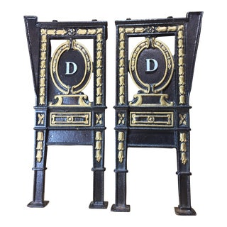 "1920s Vintage Theater Aisle Seat ""D"" Cast Iron Seat Ends - a Pair"