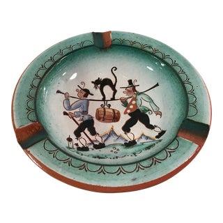 Handbemalt Signed Pottery Glazed Ashtray