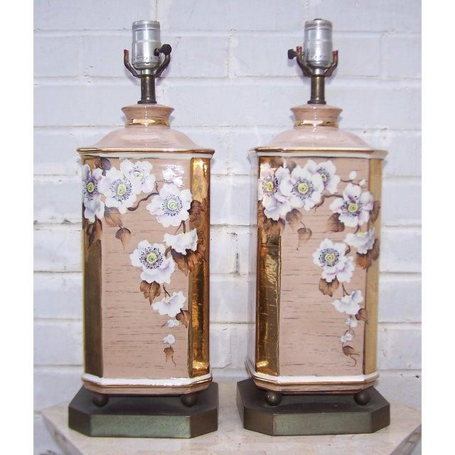 1950s Art Deco Style Ceramic Lamps - Pair - Image 2 of 8