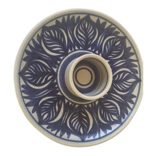 Blue Leaf Painted Stoneware Chip & Dip Serving Dish