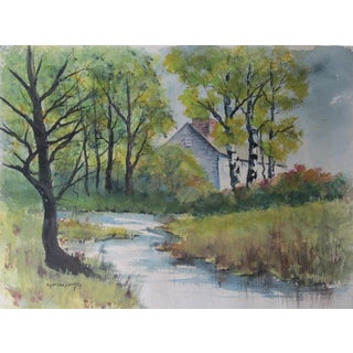 Landscape Watercolor of House by a Stream