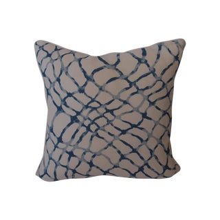 Kravet Blue and White Linen Fabric Pillow