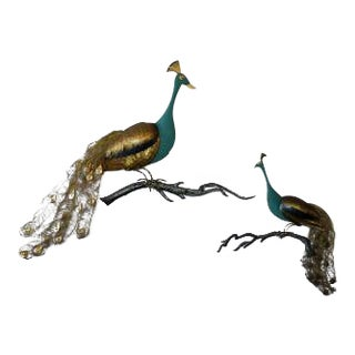 Vintage Peacock Metal Wall Sculptures - A Pair