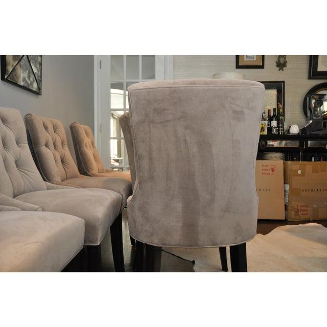 Velvet Upholstered Dining Chairs - Set of 6 - Image 6 of 8