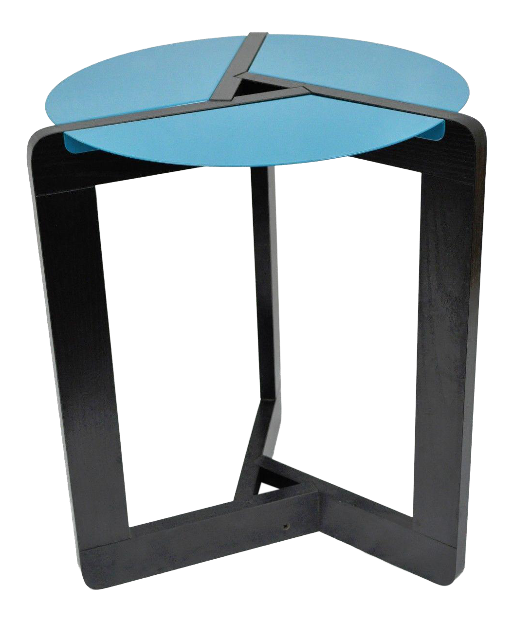 Memphis Style Post Mid Century Modern Black U0026 Blue Metal Round Side Accent  Table