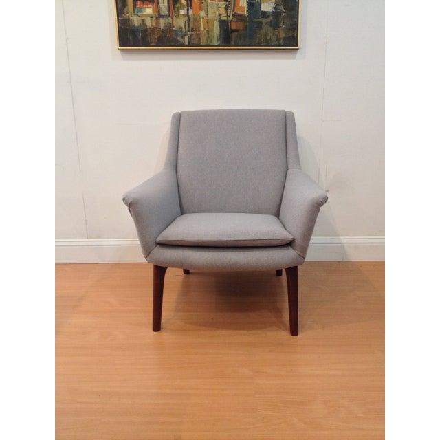 Danish Modern Upholstered Lounge Chair & Ottoman - Image 3 of 11