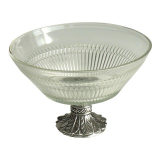 Footed Glass & Metal Serving Bowl