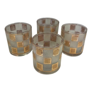 Mid-Century Gold Checkered Lowball Glasses - Set of 4