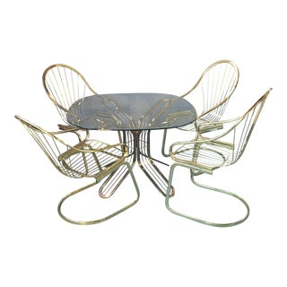 Bassett Gold Wire Cantilever Chair & Table Set - Set of 5