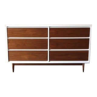 Mid Century Refinished Walnut/White Lacquer 6 Drawer Dresser