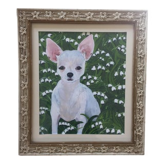White Chihuahua Dog Print With Lily of the Valley