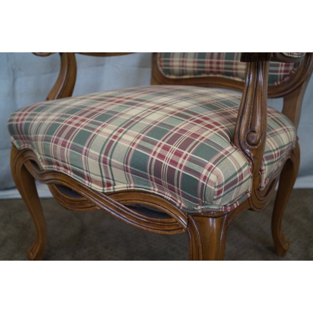 Fairfield French Style Plaid Upholstered Arm Chair - Image 8 of 10