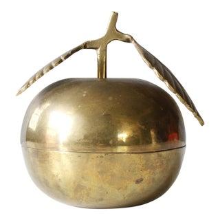 Vintage Mid-Century Brass Apple Trinket Box