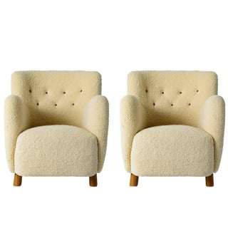 Pair of Scandinavian Sheepskin Lounge Chairs