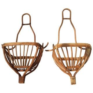 Hanging Rattan Baskets - A Pair