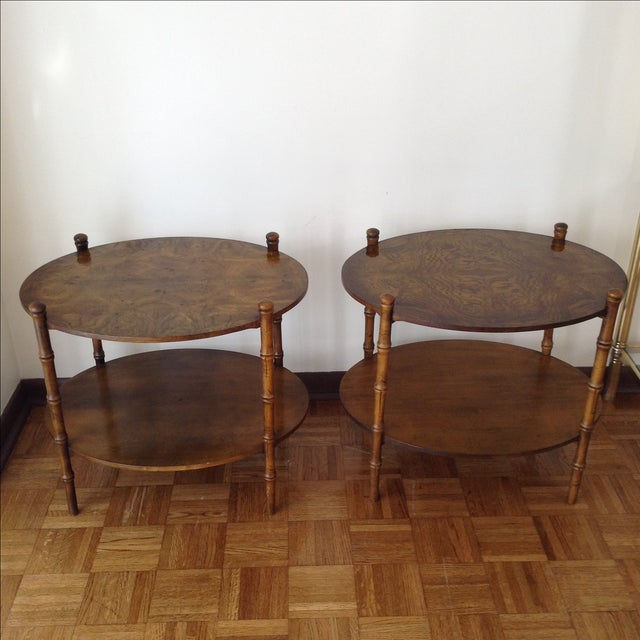 Image of Faux-Bamboo Side Tables or Nightstands - Pair