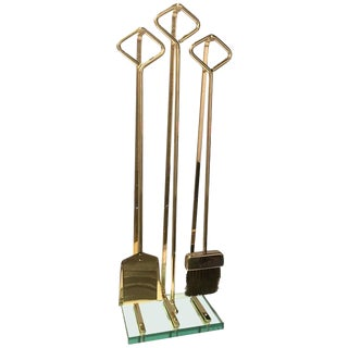 Fine Italian Modernist Brass and Glass Fireplace Tools