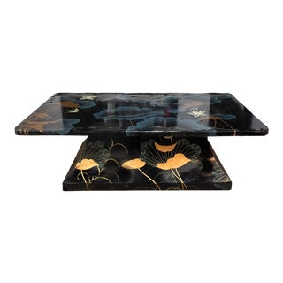 Mid-Century Asian Black Decoupage Coffee Table