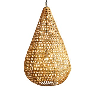 Rattan Basket Tear Drop Lantern