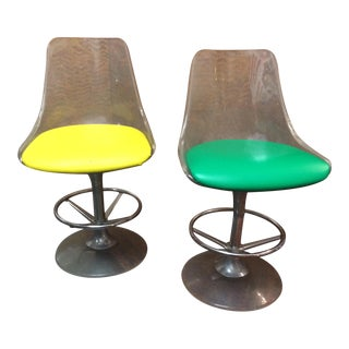 Atomic Age Lucite Bar Stools - A Pair