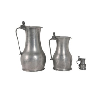 Pewter Acorn Pitchers - Set of 3