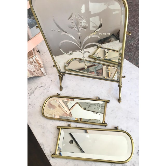 Art nouveau brass fire screen vanity with cut glass for How to cut glass with fire