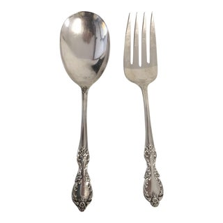 Rose Pattern Serving Utensils Fork & Knife - A Pair