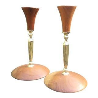 Mid-Century Modern Myrtlewood Candlesticks- A Pair