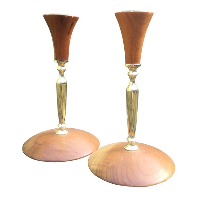 Mid-Century Modern Myrtlewood Candlesticks- A Pair - Image 1 of 6