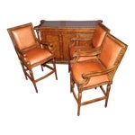 Image of Black Marble Top Bar Set With 3 Stools