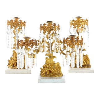 Gilt Bronze Figural Candle Holders - Set of 3