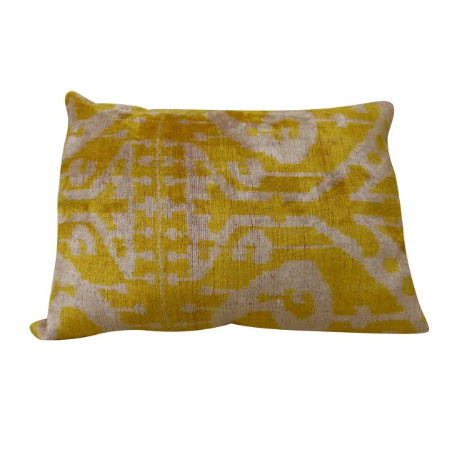 Yellow Silk and Cut Velvet Pillow - Image 1 of 7