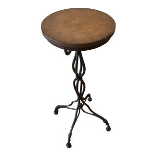 Distressed Finish Iron Side Table