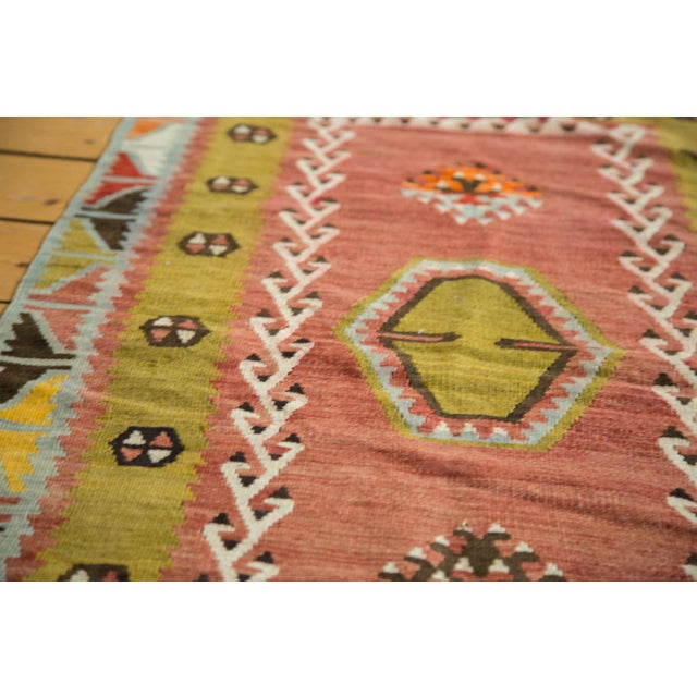 "Lime Green Vintage Kilim Rug - 2'6"" X 4'3"" - Image 4 of 6"