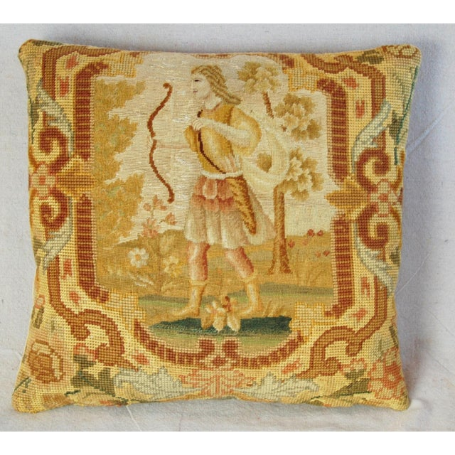 """16"""" Antique French Needlepoint Feather/Down Pillow - Image 5 of 11"""