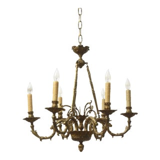 Early 20th Century Six Light Cast Brass Chandelier