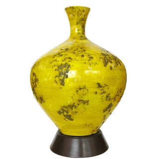 Large Midcentury Ceramic Lamp with Textured Glaze