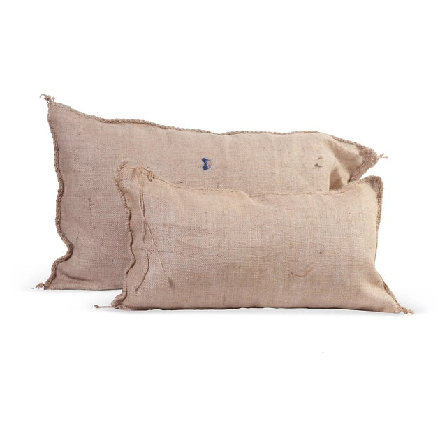 Burlap Pillows IV - A Pair - Image 1 of 2