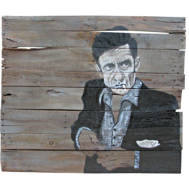 """Image of """"The Man in Black"""" Painting on Reclaimed Wood"""
