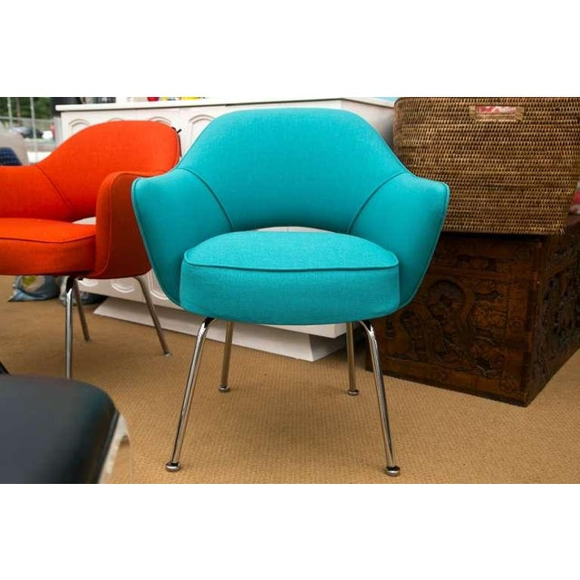 Image of Saarinen Executive Armchair, Turquoise Microfiber