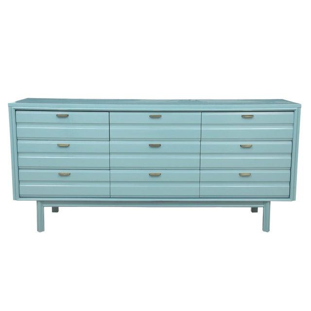Mid-Century Blue Dresser - Image 1 of 7