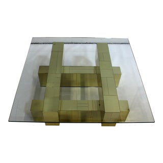 "Paul Evans Brass ""Cityscape"" Coffee Table"