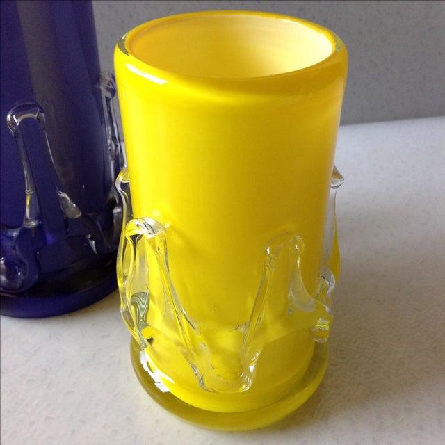Yellow And Purple Cased Art Glass Vases Pair Chairish