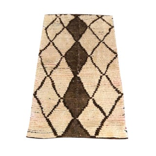 "Cream & Brown Moroccan Rug - 75"" x 140"""