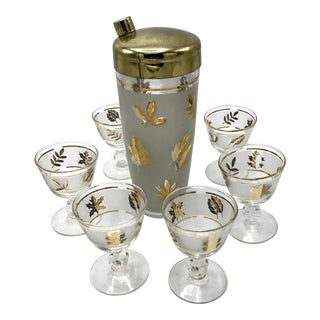 Mid-Century Frosted Gold Leaf Cocktail Shaker With Glasses - Set of 7