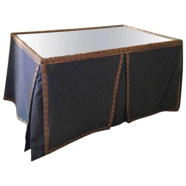 Wool Felt and Gold Braid Skirted Dressing Table with Antique French Mirror Top - Image 8 of 8