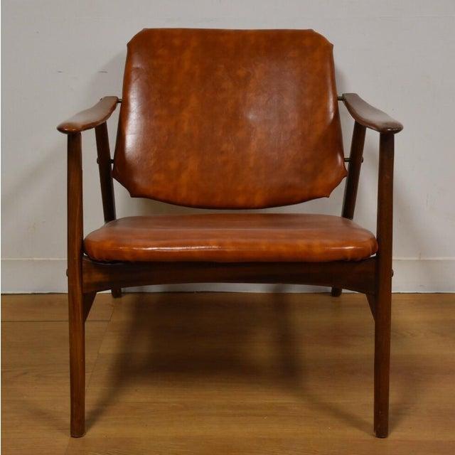 Brown Vinyl Lounge Chair - Image 3 of 9