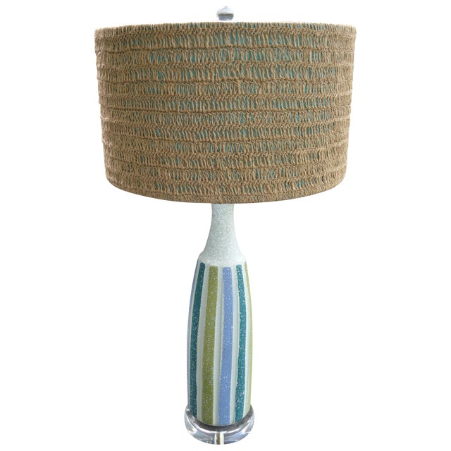 Vintage Mid-Century Striped Ceramic Lamps - A Pair - Image 2 of 8
