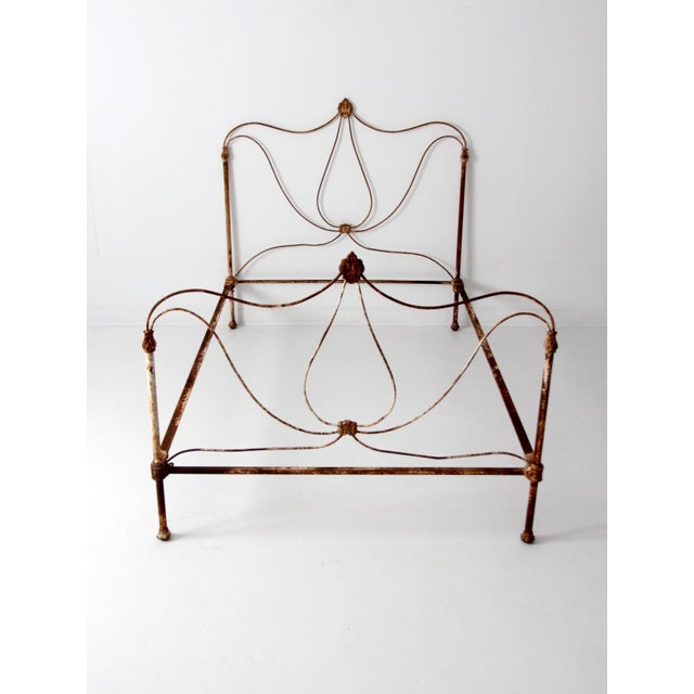 Antique Art Nouveau Iron Bed - Image 3 of 10